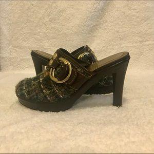 Coach plaid high-heeled clogs